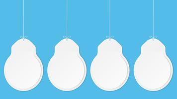 Papierkunst mit Glühlampeform auf blauem Himmel. Kopieren Sie Platz. Spracheblase, weißes und graues leeres Hängen. verspotten leer.