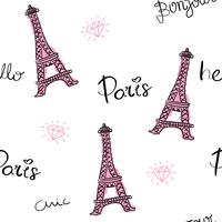 Paris and Eiffel Tower seamless pattern repeating texture vector