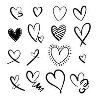 Hand drawing hearts set collection vector