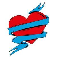 Coração vermelho com fita azul