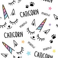 Cute beautiful unicorn cat seamless repeating pattern texture background