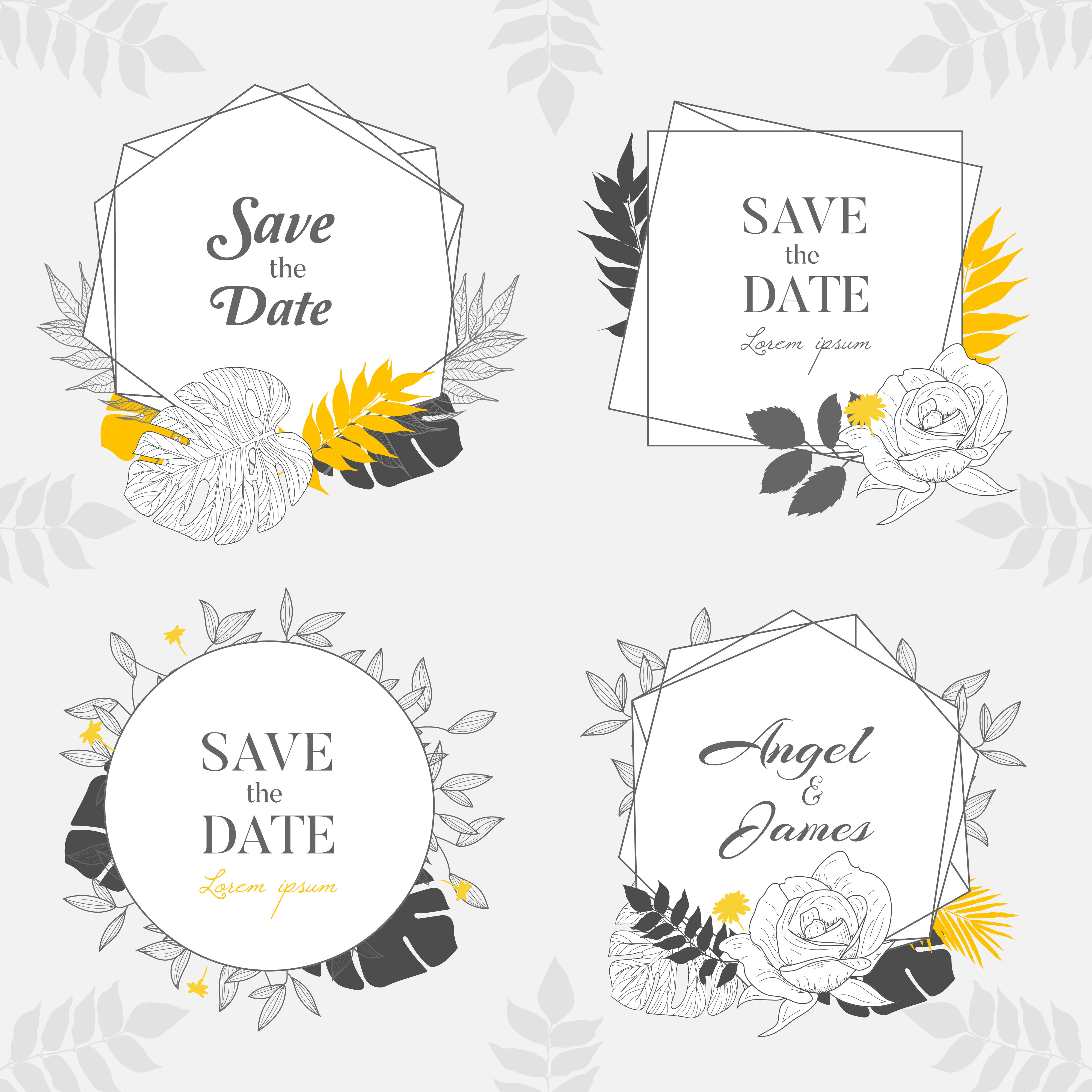 Hand Drawn Yellow Floral Frame Background Collection Download