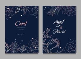 Faire-part de mariage de carte de cadre floral silhouette bleu foncé
