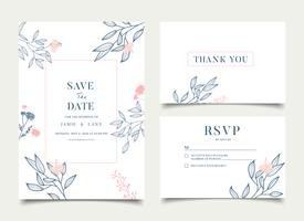 Simple Floral Celebration Wedding Card Invitation vector