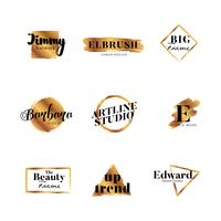 Goldpinsel-Art Buchstabe Logo Collection