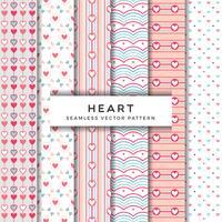 Coleção de padrão de vetor sem costura coração