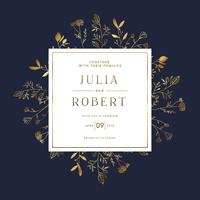 Elegant Floral Gold Wedding Invitation Banner Template