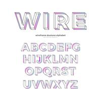 Color Wireframe Alphabet Font Type Design