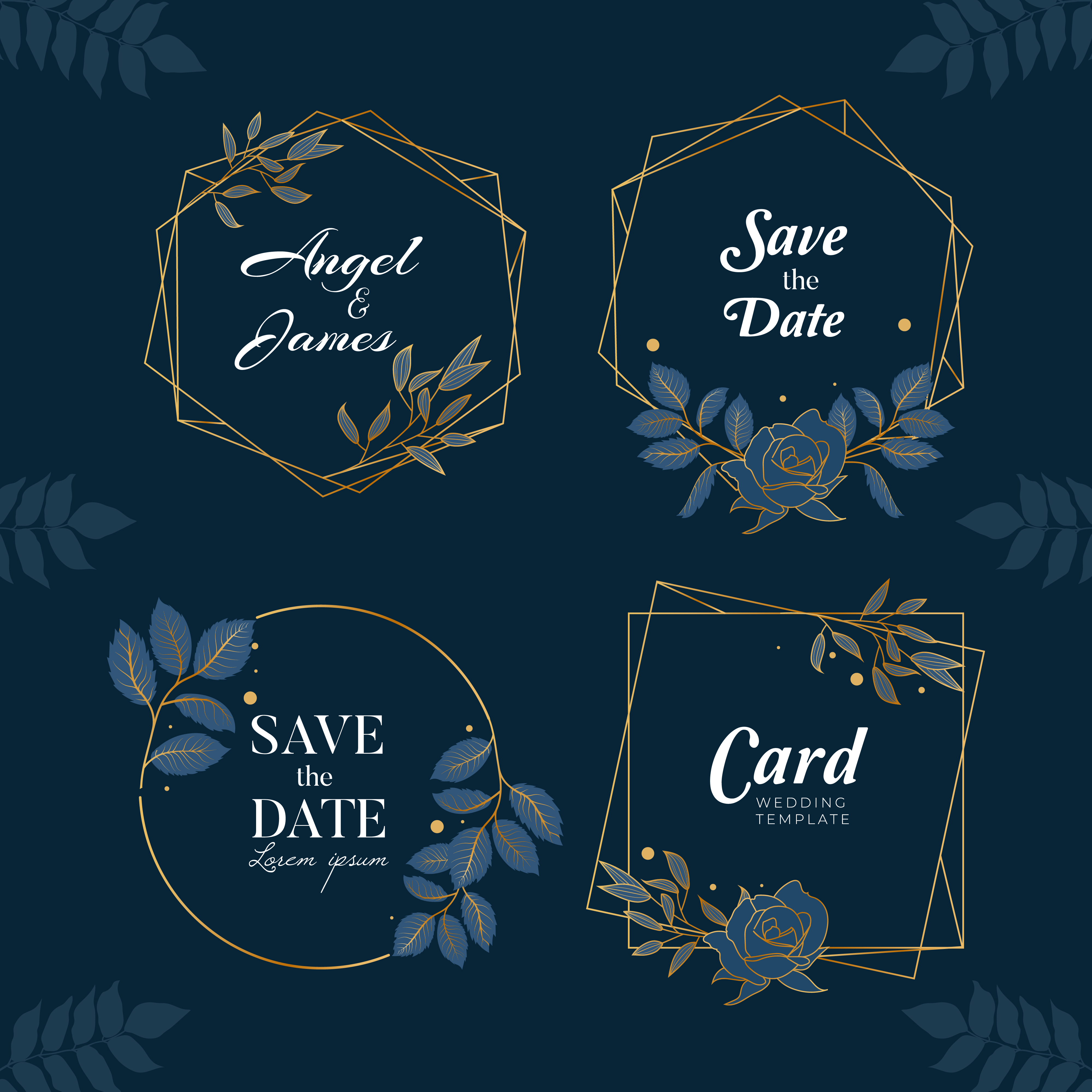 Blue Navy Hand Drawn Floral Background Collection Download Free