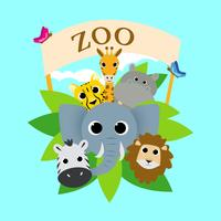 Zoo Cute Animal Group Vector Illustration