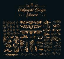 conjunto de elementos de design caligráfico