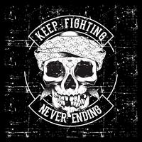 Vintage skull and fists slogan with motivation. Vector illustration