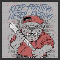 grunge style vintage bulldog handling baseball bats and wearing cap hand drawing vector