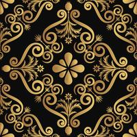 Ornamental luxury pattern design, golden color on black background