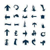 Ilustración del vector de los iconos negros de la flecha.