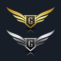vleugels schild letter g logo sjabloon
