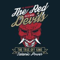 grunge style vintage the red devil hand drawing vector