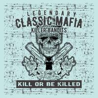 grunge style vintage skull mafia holding gun hand drawing vector