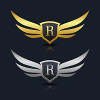 Wings Shield Letter R Logo Template