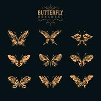 butterfly ornament set vector