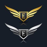 Escudo de asas letra E logotipo modelo
