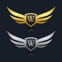 Logotipo del emblema de la letra W