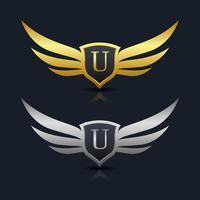 Logotipo del emblema de la letra U