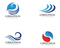 Símbolo de la ola de agua e icono Logo plantilla vector ...