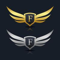 Wings Shield Letter F Logo Template vector