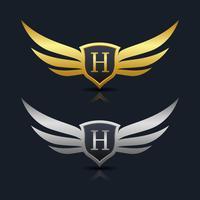 Logotipo del emblema de la letra H
