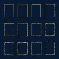 Conjunto de marcos dorados de lujo y set de bordes. Establecer marcos de oro t