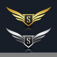Wings Shield Letter S Logotypmall