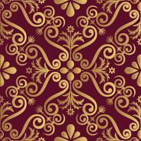 Diseño de patrón de lujo ornamental, color dorado sobre fondo negro
