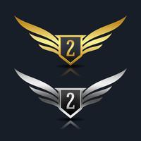 Wings Shield Numero 2 Logo Template