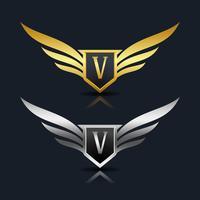 Logo dell'emblema della lettera V.