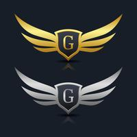 Wings Shield Letter G Logo Template vector