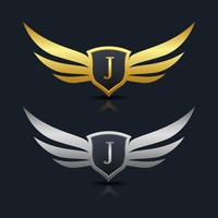 Wings Shield Lettera J Logo modello
