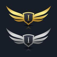 Escudo de asas Letter I Logo Template