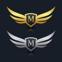 Wings Shield Lettera M Logo modello