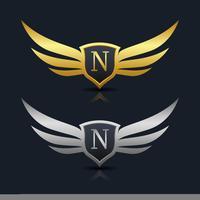 Logo dell'emblema della lettera N.