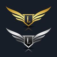 vleugels schild letter l logo sjabloon