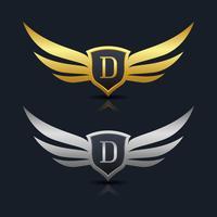 Letra D emblema Logo