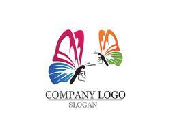 Borboleta simples conceitual, ícone colorido. Logotipo. Vetor