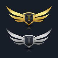 Modelo de logotipo de escudo de asas letra T