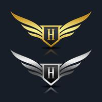 Escudo de asas letra H logotipo modelo