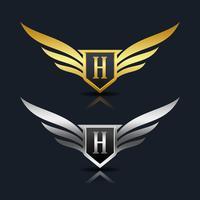 Wings Shield Letter H Logo Mall