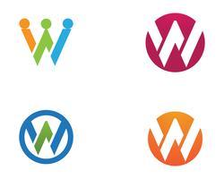 Logotipo de negócio de letras W e app de ícone de modelo de símbolos