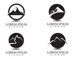 Modello di icone di logo e simboli di paesaggio di montagna natura