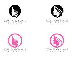 Haar Frau und Gesicht Logo und Symbole