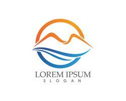 Modello di logo di montagna natura paesaggio e simboli icone ..